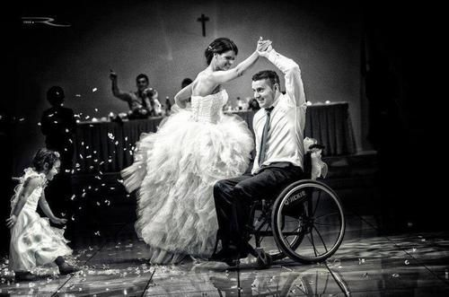 Love the movement in this photo! So nervous for our first dance!!>>> See it. Believe it. Do it. Watch thousands of spinal cord injury videos at SPINALpedia.com