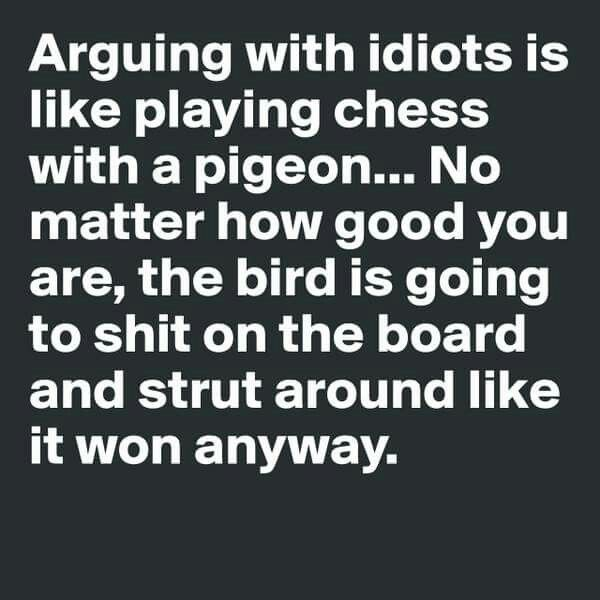 Arguing with idiots is like playing chess with a pigeon...for idiots, read Trump supporters.