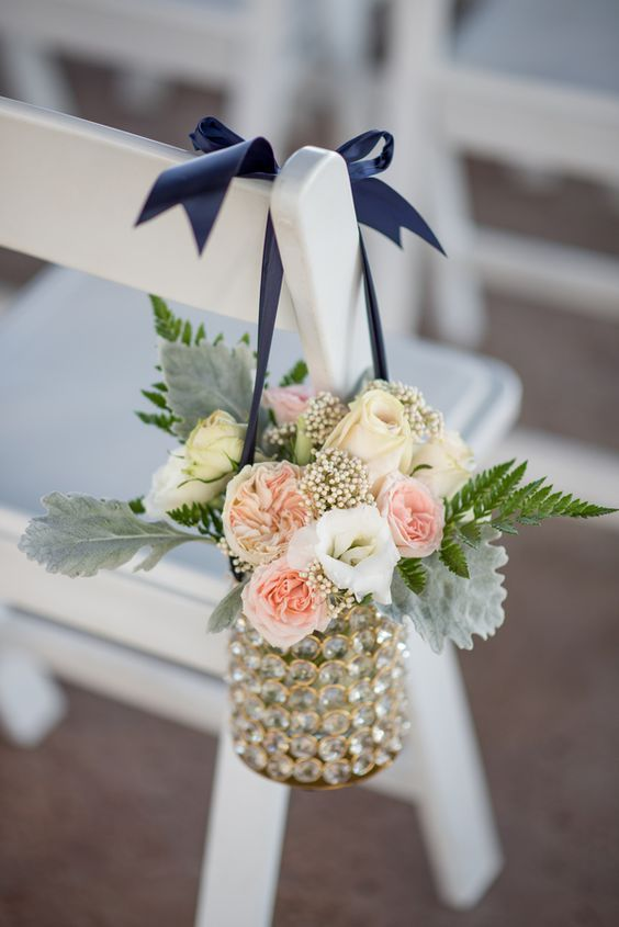 pink garden roses contrasted with navy for the ceremony altar