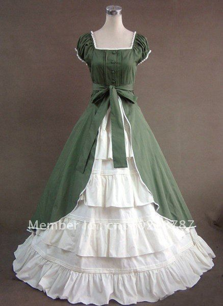 Green White Vintage Victorian Traditional Southern Belle Lace Princess Gothic Dress Cosplay Ball Gown made to measure Free P