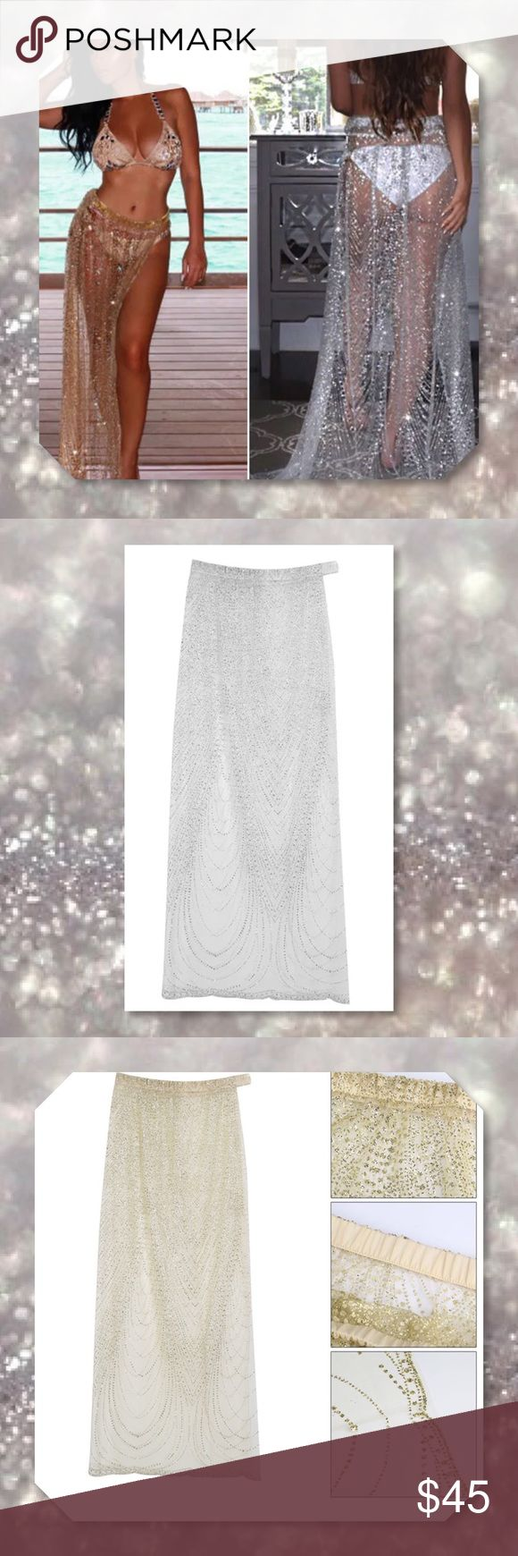 "LAST 1Silver Sparkly Sarong Cover Up Skirt Features: 100% Brand new and high quality! A must have beach fashion wear maxi skirt cover up Style: Sparkly Color: Silver Material: Polyethylene fibre + Cotton + Sequins Size: Tag XL; Hem: 39.4""; Waist: 29.1""; Length: 41.7"" Package Included: 1 Coverup   ⭐️⭐️SORRY NO TRADES AND LOWBALL OFFERS WILL BE IGNORED ⭐️⭐️  ✂️LOWBALL OFFERS WILL BE IGNORED✂️ Glam Squad 2 You Swim Coverups"