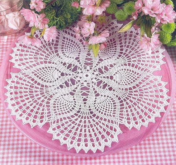 Crochet Doily Round White Crochet Doily Crochet by CrochetMiracles