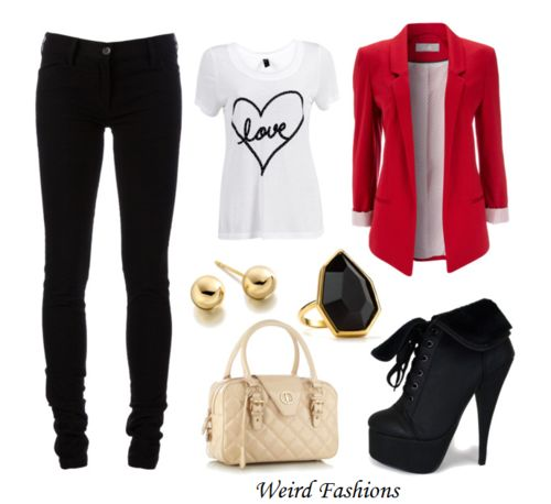 red blazer outfit for a Valentine's Day date or office outfit