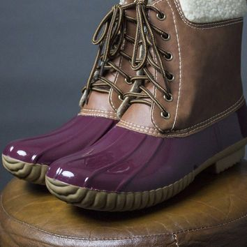 Maroon Sperry Duck Boots
