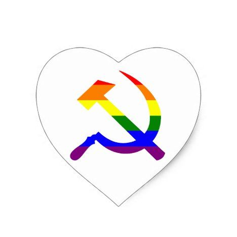 Gay Pride Rainbow Soviet Hammer And Sickle Heart Sticker #Rainbow #craft #supplies #crafting