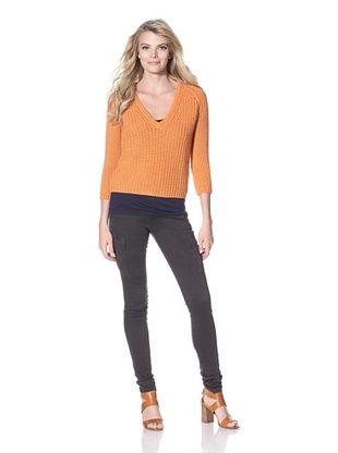 80% OFF M.Patmos Women's V-Neck Beach Sweater (Tangerine)