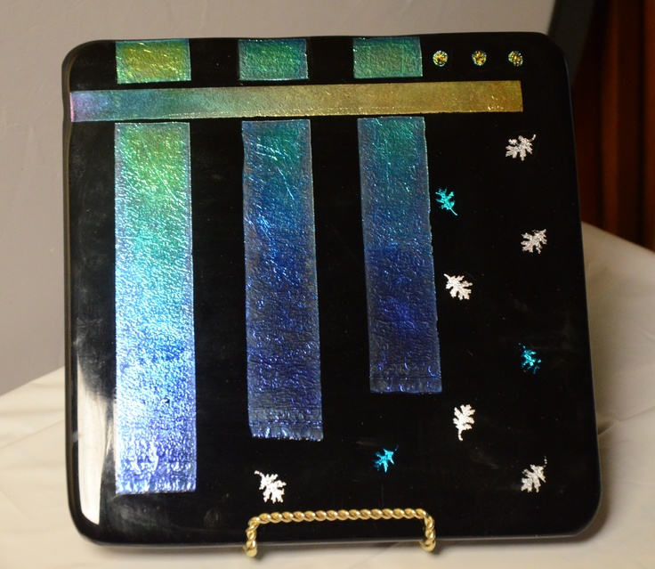Original Fused Glass Art by Cathy Thompson.  Dichroic waterfall Plate.