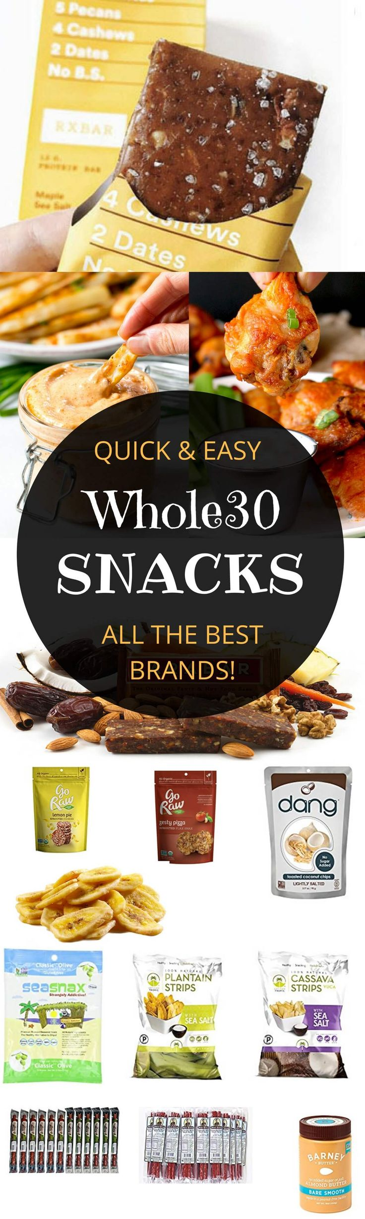"Easy whole30 items for on the go.  Remember that ""snacking"" is not allowed on Whole30, but these items can be used in situations where you may not have fresh foods available...meant to be ""emergency"" items."