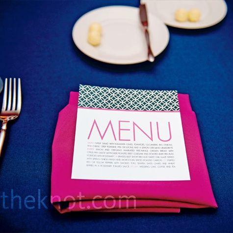 menu cardsColors Combos, Pink Napkins, Modern Menu, Menu Cards, Colors Combinations, Colors Schemes, Colors Blue, Royal Blue, Bold Colors