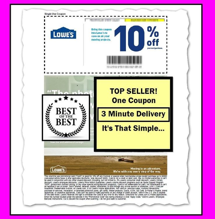 Coupons: (1X) One Lowes 10% Off Printable-Coupon - Valid For In-Store Use - Or Use Online BUY IT NOW ONLY: $0.99