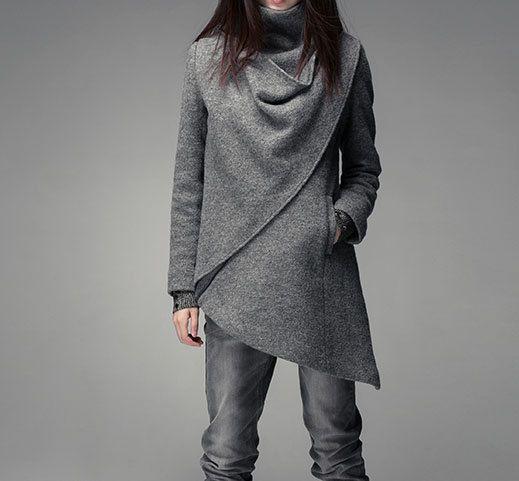 Gray High Collar Jacket Winter Wool Women Coat - Custom Made - 009 on Etsy, $271.75 CAD