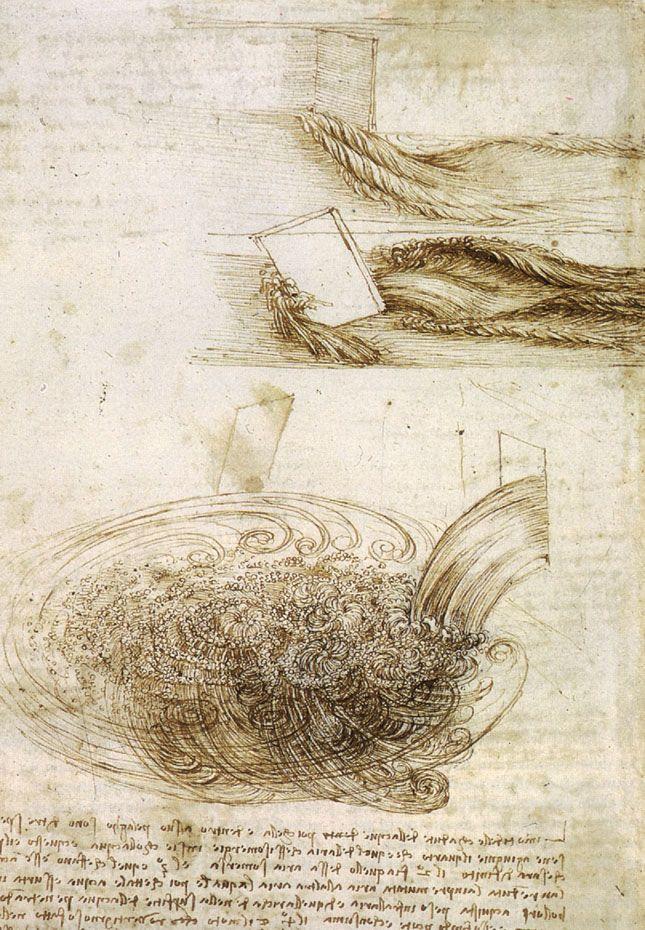 Leonard Da Vinci (Italian, 1452-1519.) Studies of Water passing Obstacles and falling, 1508-1509
