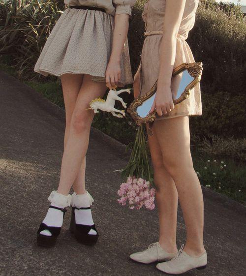 Frilly socks with velvet high heels? Yes, please.