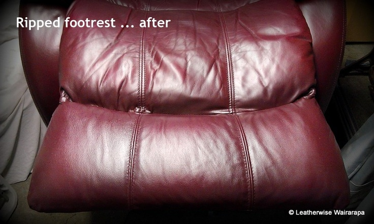 Leather La-z-boy recliner with repaired footrest recoloured to match the rest of the chair.