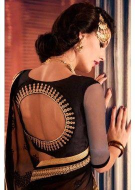 georgette noir, saree net, - #ModeBollywood #SarienSoie #SariFemme #Shopkund