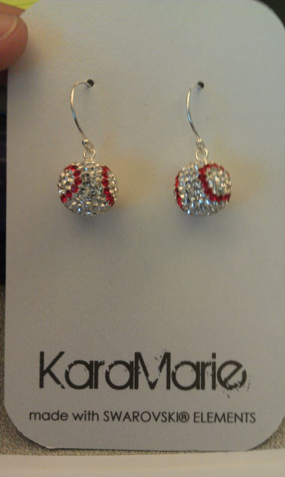 My super talented sister Kara Makes custom made swarovski jewelry from wedding items to these fun baseball earrings! Great for the start of the season! visit her site: http://www.karamarie.net, like her on Facebook!!!
