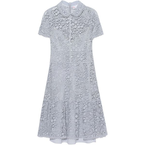 RED VALENTINO Lace Light Grey // Lace dress (63,880 PHP) ❤ liked on Polyvore featuring dresses, red valentino dress, knee length dresses, short-sleeve lace dresses, red valentino and tailored dresses