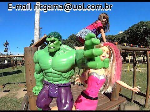 Crianças brincando Barbie Super Princesa Pink Hulk  Parque Diversão Brin...