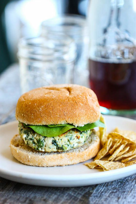 Spinach and Goat Cheese Turkey Burgers
