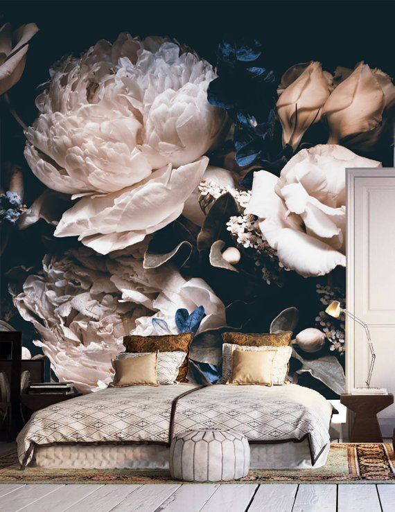 Dark vintage floral wallpaper, wedding clipart removable wallpaper, dramatic floral mural wall, peel and stick wallpaper, oil painting mural