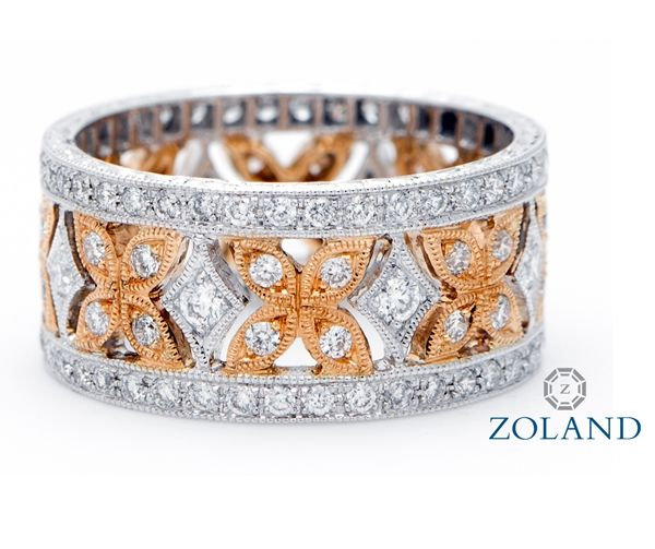 Custom Design Eternity Band with Round Diamonds set in White Gold and Rose Gold #diamond #ring