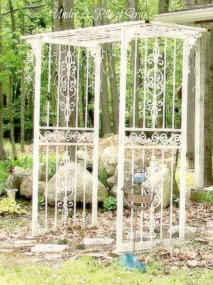 iron door arbor  Made from storm doors!!!