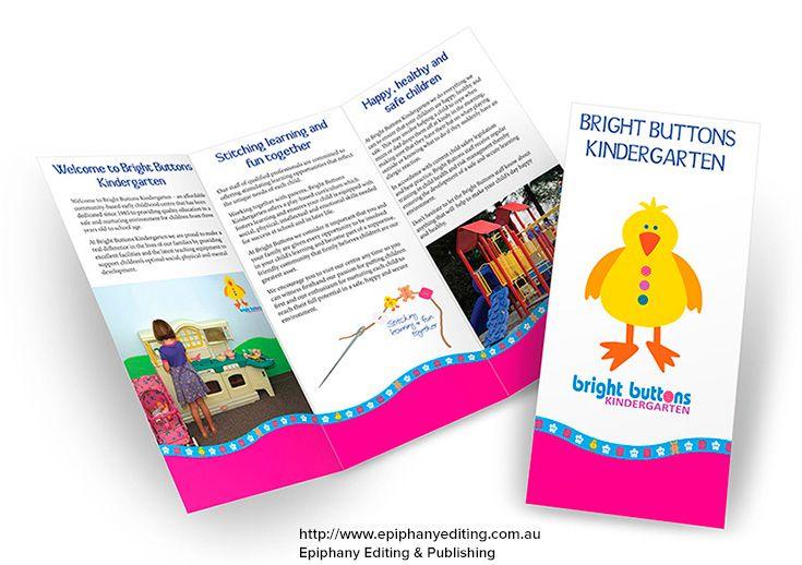 design for bright buttons kindergarten brochure to promote