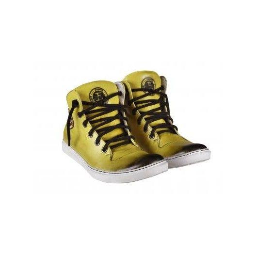 Pánske kožené športové topánky žlté PT127 - manozo.hu