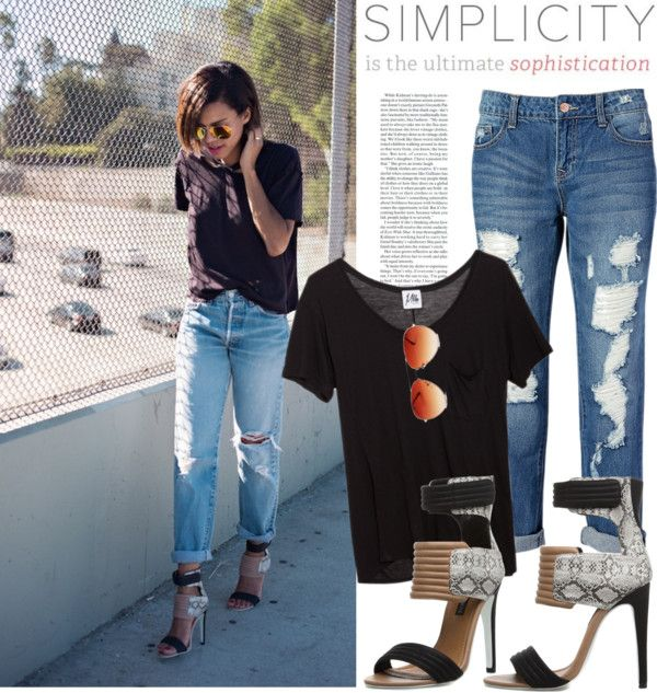 """""""Blogger style: Black T-shirt & Destructed Skinny Jeans & Heels"""" by hamaly on Polyvore"""