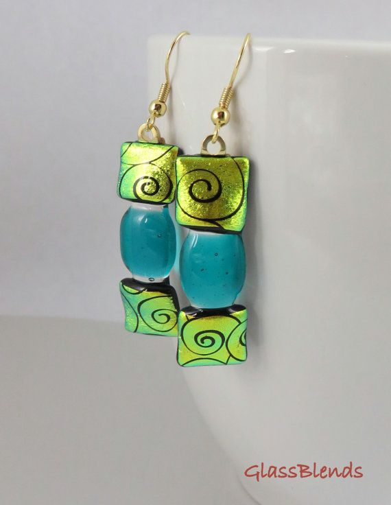 Green Dichroic Glass Earrings  Fused Glass Jewelry  by GlassBlends, $20.00