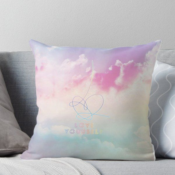 Bts Love Yourself Answer Pastel Clouds Kpop Merchandise Throw Pillow By Hellodigitals In 2021 Kpop Merchandise Pastel Clouds Designer Throw Pillows