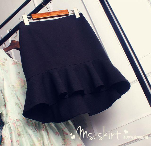 Корея покупки новых весной и летом высокие карманы хип Flouncing бюст шаг рыбий хвост юбки юбки был худые женщины - Taobao