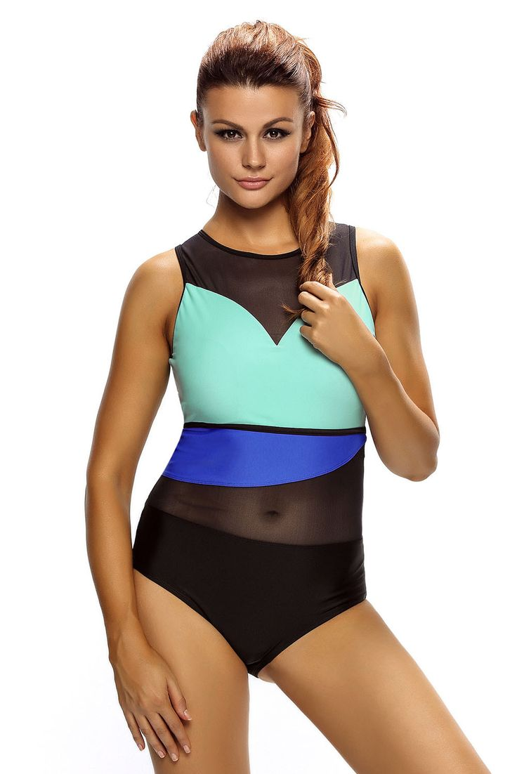 Chicloth Stylish Colorblock Mesh Insert One Piece Swimsuit