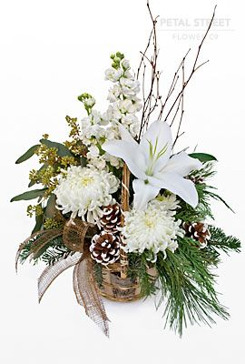 winter floral arrangements | All white flower basket for the winter holidays.
