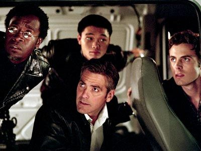 Shaobo Qin, Don Cheadle, ... | VAULT-Y LOGIC Clooney, center, with cohorts Cheadle, Qin, and Casey Affleck