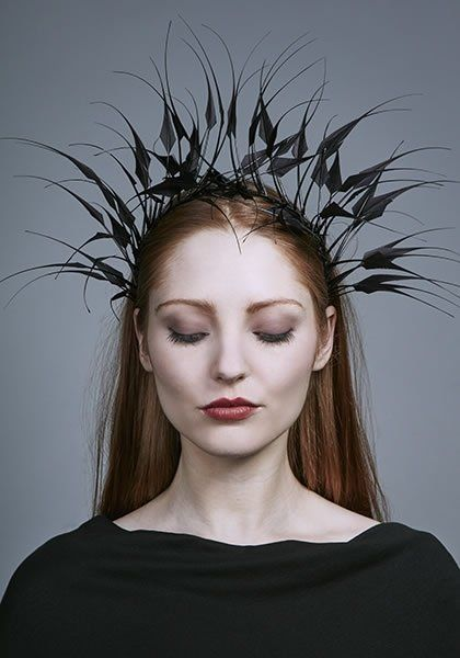 Rachel Trevor Morgan Millinery AW 2016 | R16W19 - Black diamond cut feather headdress