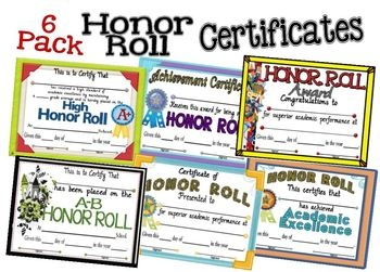 6 Pack Honor Roll Certificates. These colorful certificates are a great way to reward and motivate your students for a job well done! $