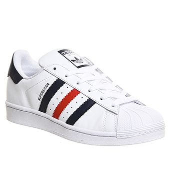 5.5 Adidas Superstar 1 White Collegiate Navy Red - Unisex Sports
