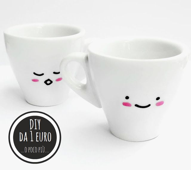Kawaii Espresso Cup | le Idee Della Vale Kawaii! I have to admit, I love anything kawaii. And wouldnt these cups perk you up as much as your morning coffee?! Porcelain cups are so fun and easy to use, perfect for projects like this (just make sure you dont use them on anything youre going to be eating off of).