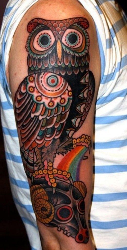 Sleeve Owl Tattoo Meaning And Design Ideas -Readmore : http://tattoosclick.com/owl-tattoo-designs