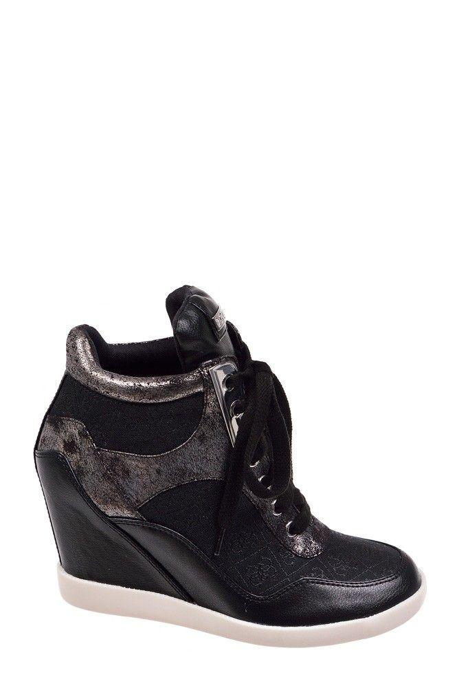 Sneakersy Guess Hilda FL2HDA FAL12-BLKBL Black - koturny - 363,99 zł - BeJeans