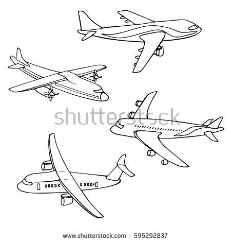 Set of Different Kind of Airplanes.Vector illustration isolated plane.