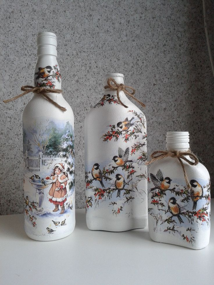 Pretty winter scene and chickadees make beautifully painted bottles!