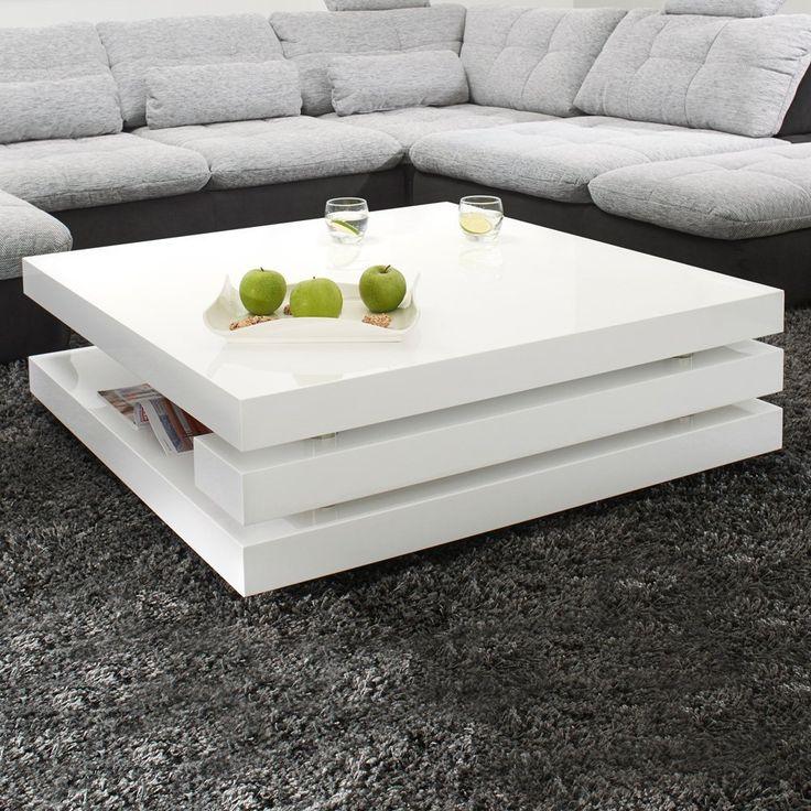Couchtisch PIAZZA 100x100cm Hochglanz Lack Tisch Weiss Loungetisch Beistelltisch Amazonde Kche