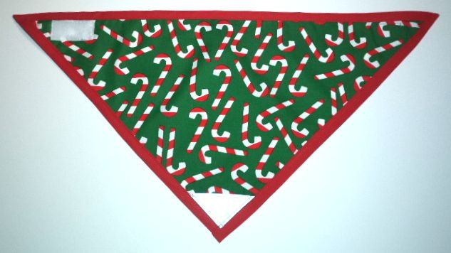 """""""Candy Canes"""" Dog Bandana with Velcro Fastener and Reflective Patch. Available in 4 sizes. Durable and machine washable. FREE SHIPPING ON ORDERS OVER $40."""