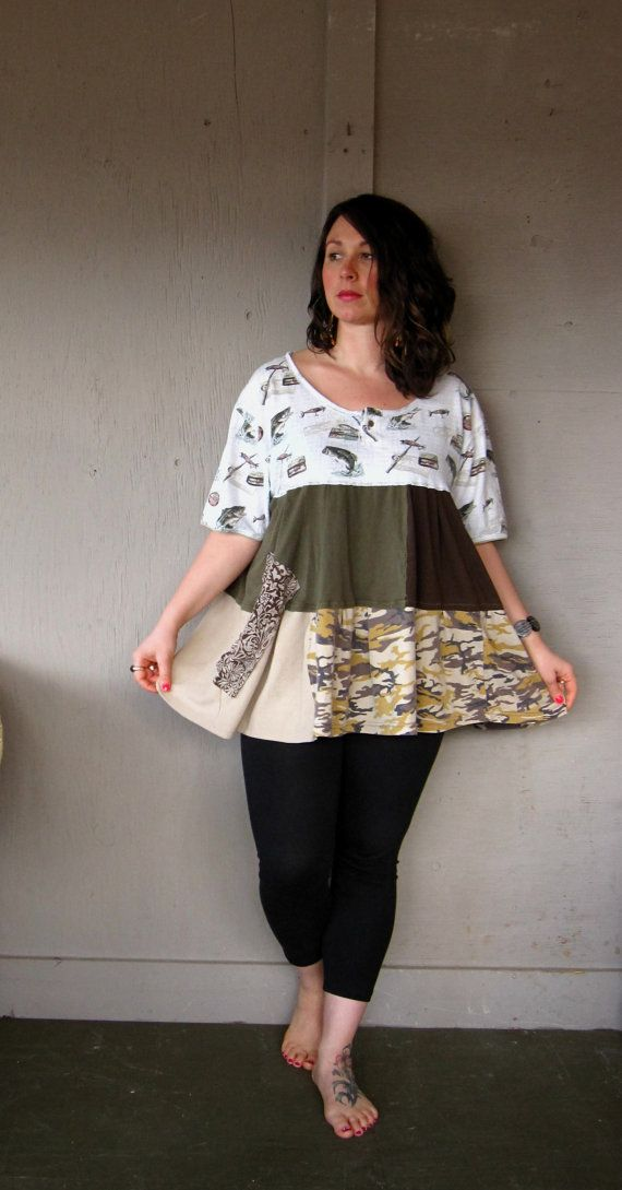 plus size Funky Lagenlook Tunic upcycled clothing Romantic Patchwork Bohemian Dress fly fishing Tattered artsy dress Eco top XLarge 1X