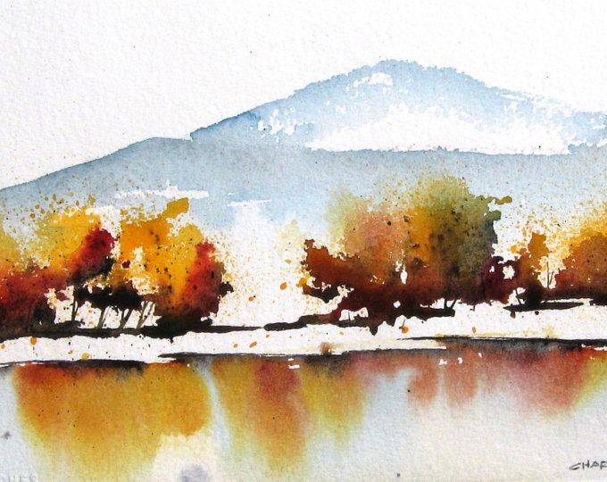 Autumn Shore Original Watercolor Painting In 2020 Watercolor