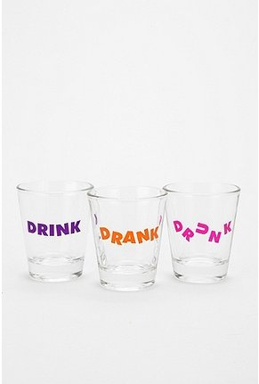 drink, drank, drunk shot glasses