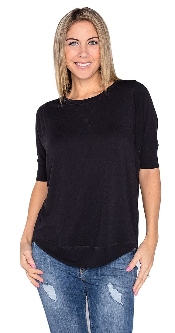A fun new sweatshirt that is warm and chic, perfect for summer nights, camping, or a cozy night in. The Christie Sweatshirt is cozy and is made from a soft high quality material.  This is one of those pieces that you have to feel. It is so soft and luxuriously cozy. The Christie Sweatshirt gives maximum comfort and it's cute... win-win. Looks great worn with skinny jeans or tights.  Loose fit sweatshirt Dolman 3/4 length sleeves Hi-low hemline Rounded neckline Colour dye may run, wash…