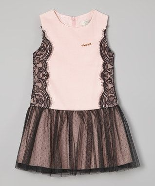 Pink & Black Lace Tulle Drop-Waist Dress - Toddler & Girls
